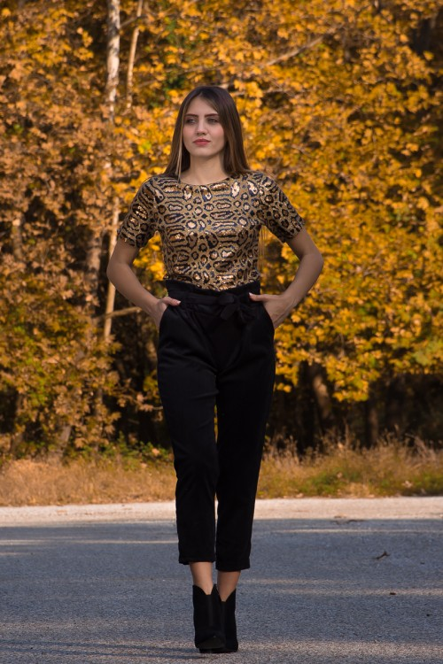 T-shirt with paillets Leopard
